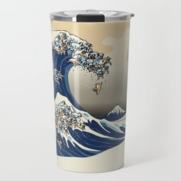 The Great Wave of Pugs Vanilla Sky Travel Mug