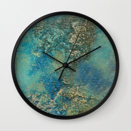 Blue And Gold Modern Abstract Art Painting Wall Clock