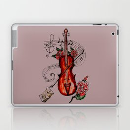 Brown Violin with Notes Laptop & iPad Skin