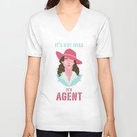 agent carter V-neck T-shirts featuring It's Agent by Courtney Yu
