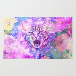 Space Cat | Girly Kitten Cat Romantic Floral Pink Nebula Space Rug