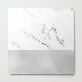 White Marble with Black and Grey Silver Stripe Metal Print