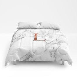 Monogram rose gold marble L Comforters