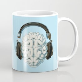 Mind Music Connection /3D render of human brain wearing headphones Coffee Mug