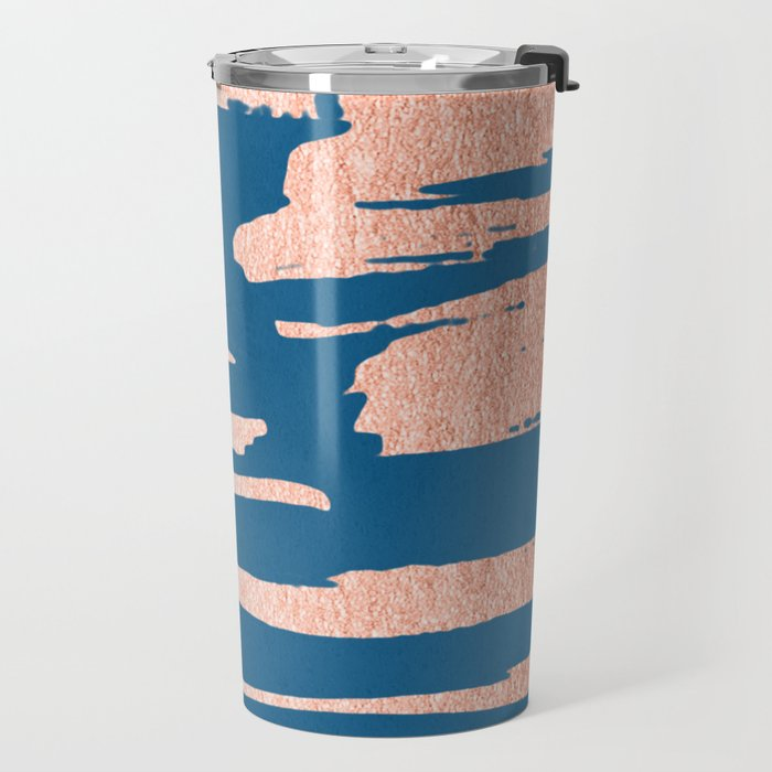 Tiger Paint Stripes - Sweet Peach Shimmer on Saltwater Taffy Teal Travel Mug