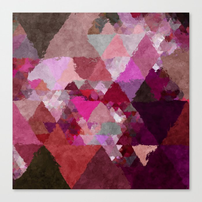 When the night comes- Dark red purple triangle pattern- Watercolor Illustration Canvas Print