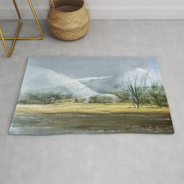 Geysers in the Kamchatka valley. Oil painting on canvas. The painting is made in the style of landscapes by Thomas Cole and Frederick Church. Contemporary art.  Rug