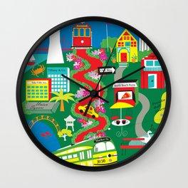 San Francisco, California - Collage Illustration by Loose Petals Wall Clock