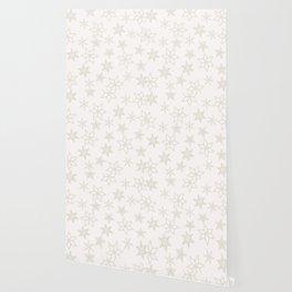 Beige Snowflakes on white background Wallpaper