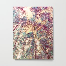 Birches high up in surreal colors Metal Print