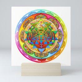 Inner Strength Psychedelic Tiger Sri Yantra Mandala Mini Art Print