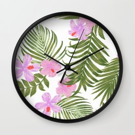 Modern pink green palm tree tropical floral Wall Clock