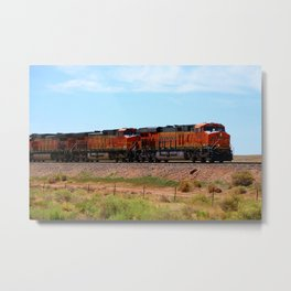 Orange BNSF Engines Metal Print