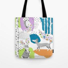 Woodland Animal Scene Tote Bag