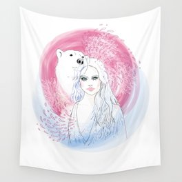 Girl and Polar Bear Wall Tapestry