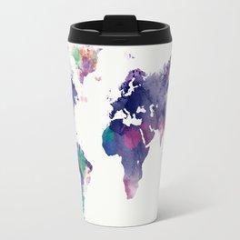 Watercolor World Map Travel Mug