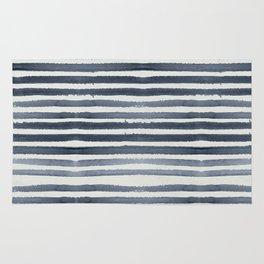 Simply Shibori Stripes Indigo Blue on Lunar Gray Rug