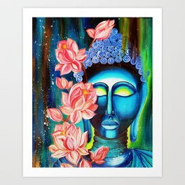 Buddha mediating Acrylic painting on canvas spiritual yoga zen art Art Print