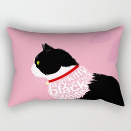 Typographic black and white lazy kitty cat on pink  #typography #catlover Rectangular Pillow