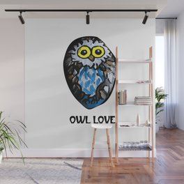 Owl Love Rock Painting on River Rock by annmariescreations Wall Mural