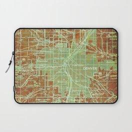Denver Colorado map, year 1958, orange and green artwork Laptop Sleeve