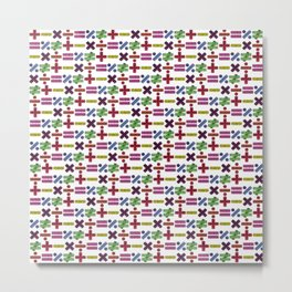 Seamless Colorful Abstract Mathematical Symbols Pattern VI Metal Print