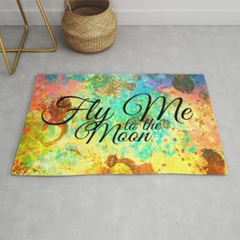 FLY ME TO THE MOON - Rainbow Bold Galactic Outer Space Orbit Stars Abstract Fine Art Typography Rug