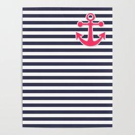 12 Blue , white , striped Poster