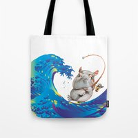 hokusai Tote Bags featuring Hokusai Rainbow & Hippopotamus Fishing  by FACTORIE