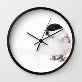 Cute Willow Tit sitting in the snow #decor #buyart #society6 Wall Clock