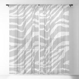 ZEBRA GRAY AND WHITE ANIMAL PRINT Sheer Curtain
