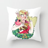 the legend of zelda Throw Pillows featuring ZELDA by aadizooke