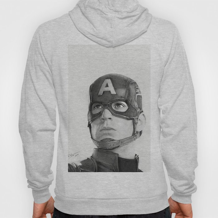Portrait Drawing of Capt. America Hoody