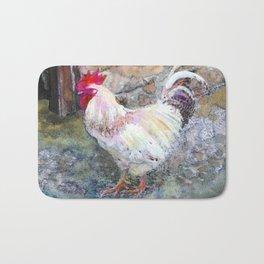 """White Chicken Bird Fine Art Watercolor Painting """"The White Chicken"""" Bath Mat"""