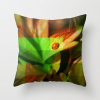 ladybug Throw Pillows featuring Ladybug  by SensualPatterns