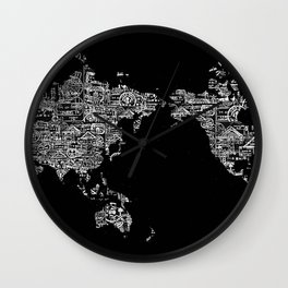 Passport Stamp Map Special Edition, Black and White Wall Clock