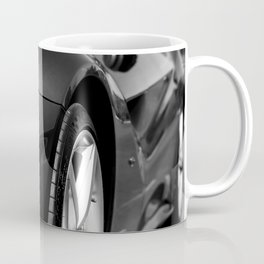 Super Car // Front Wheel Base Low Rims Dark Charcol Gray Black and White Coffee Mug