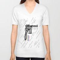 gun V-neck T-shirts featuring Gun  by Forrest Wright