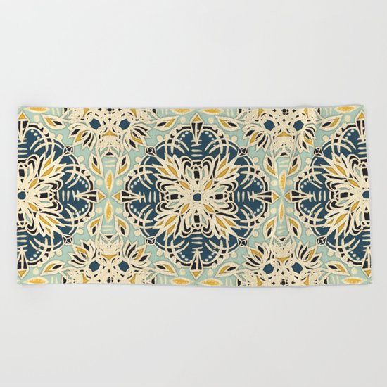 Protea Pattern in Deep Teal, Cream, Sage Green & Yellow Ochre  Beach Towel