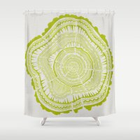 tree rings Shower Curtains featuring Lime Tree Rings by Cat Coquillette