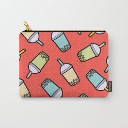 Bubble Tea Pattern in Red Carry-All Pouch