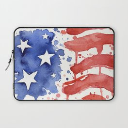 American Flag Watercolor Abstract Stars and Stripes Laptop Sleeve