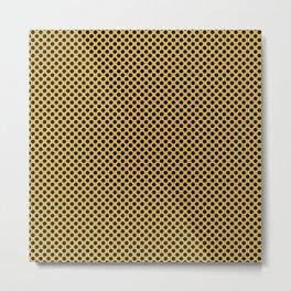Spicy Mustard and Black Polka Dots Metal Print