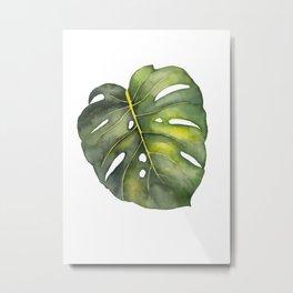 Watercolor Monstera Leaf Metal Print