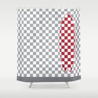 surfboard Shower Curtains featuring Checkered Fish Surfboard by Arlo @ Creative Konzepts