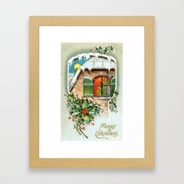 Merry Christmass Vintage 1900 Card Framed Art Print