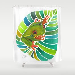 Frog On A Leaf Shower Curtain