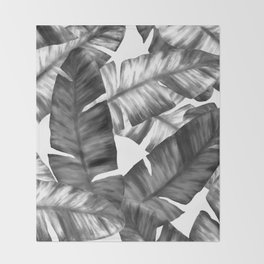 Black And White Tropical Banana Leaves Pattern Throw Blanket