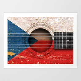 Old Vintage Acoustic Guitar with Czech Flag Art Print