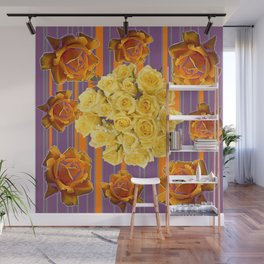 YELLOW ROSES PUCE STRIPE PATTERN Wall Mural